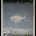 YOSHIDA, HODAKA: #P1874 FABULOUS VERY RARE, VERY LARGE LIMITED EDITION – LANDSCAPE PISCES - Genuine Japanese woodblock print