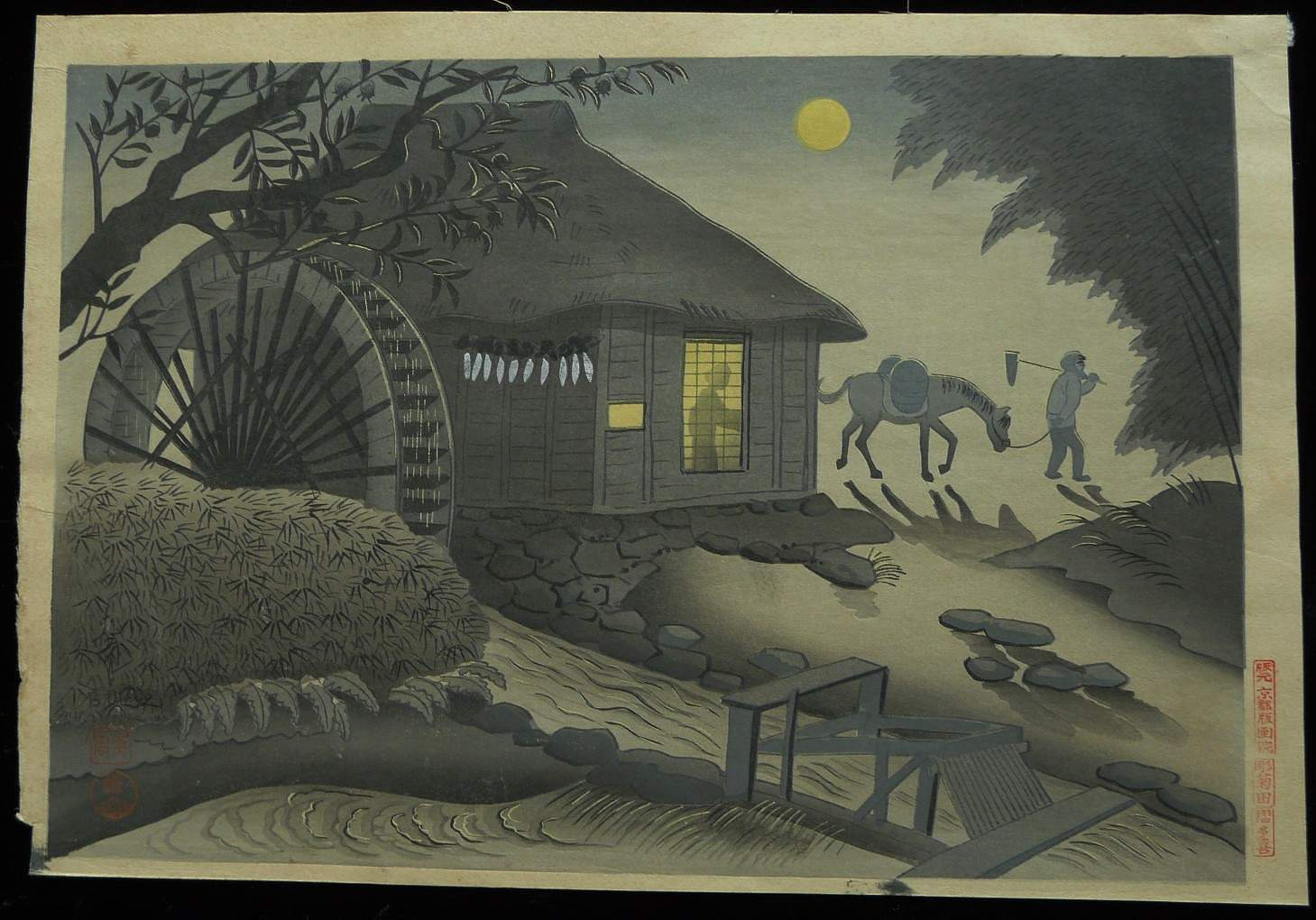 OHNO BAKUFU: #P2201 THE WATER WHEEL BY MOONLIGHT