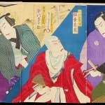 Chikashige, Morikawa: #P2815 TRIPTYCH SHOWING PORTRAIT SCENES OF KABUKI ACTORS FROM THE 1870s Genuine Japanese woodblock print