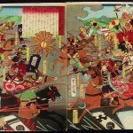 YOSHITORA, UTAGAWA: #P3700 SUPERB DITYCH SHOWING SATO MASAKIYO IN BATTLE 1860s - Genuine Japanese woodblock print