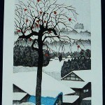 OHTSU, KAZUYUKI: #P3811 REMAINING PERSIMMONS - Genuine Japanese woodblock print