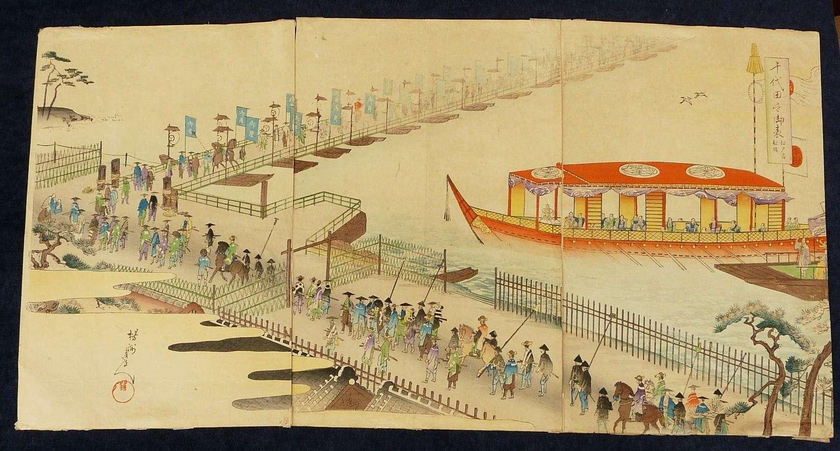 HASHIMOTO CHIKANOBU: #P3910 CHIYODA-NO-ON-OMOTE MOKUROKU MATSUDO-NO-SHUKU FUNA BASHI (1884-1886)