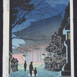 Asano, Takeji: #P3977 NIGHT SCENE OF KITANO SHRINE - Genuine Japanese woodblock print