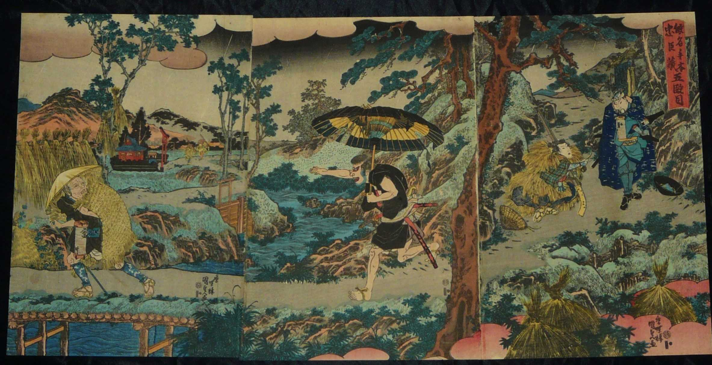UTAGAWA KUNISADA: #P3978 VERY EARLY RARE TRIPTYCH 1850s