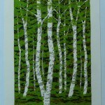 FUJITA, FUMIO: #P4384 FRESH GREEN WHITE BIRCH F – DATED 2003 - Genuine Japanese woodblock print