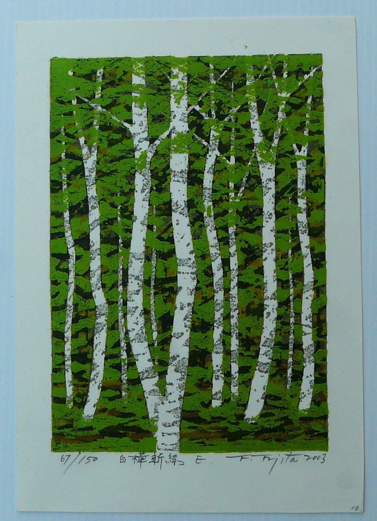 Fumio Fujita: #P4384 FRESH GREEN WHITE BIRCH F