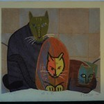 "FUKAMI, GASHU: #P4578 LARGE FIRST LIMITED EDITION ""THREE CATS"" - Genuine Japanese woodblock print"