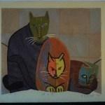 "FUKAMI, GASHU: #P4578 LARGE FIRST LIMITED EDITION ""THREE CATS"" - Genuine Japanese woodblock print"