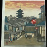 #P2417 KYOTO STREET WITH YASAKA PAGODA CARVED AND PRINTED BY TOKURIKI 1970s