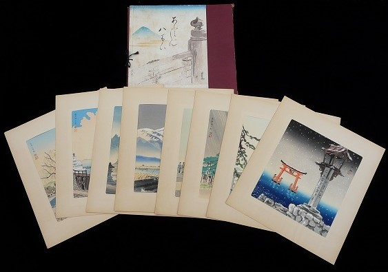 TOMIKICHIRO TOKURIKI: #P928 COMPLETE SET OF THE NEW EIGHT VIEWS OF OOMI Circa 1950
