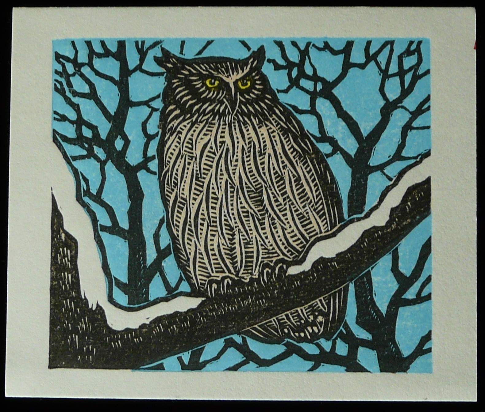 Tejima Keizaburo: #P3304 OWL IN THE SNOW