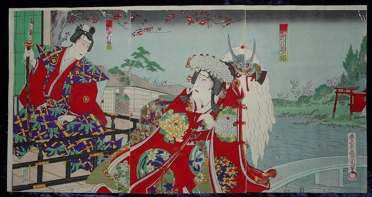 TOYOHARA KUNICHIKA: #P4198 RARE ORIGINAL TRIPTYCH SCENE 1870-1880