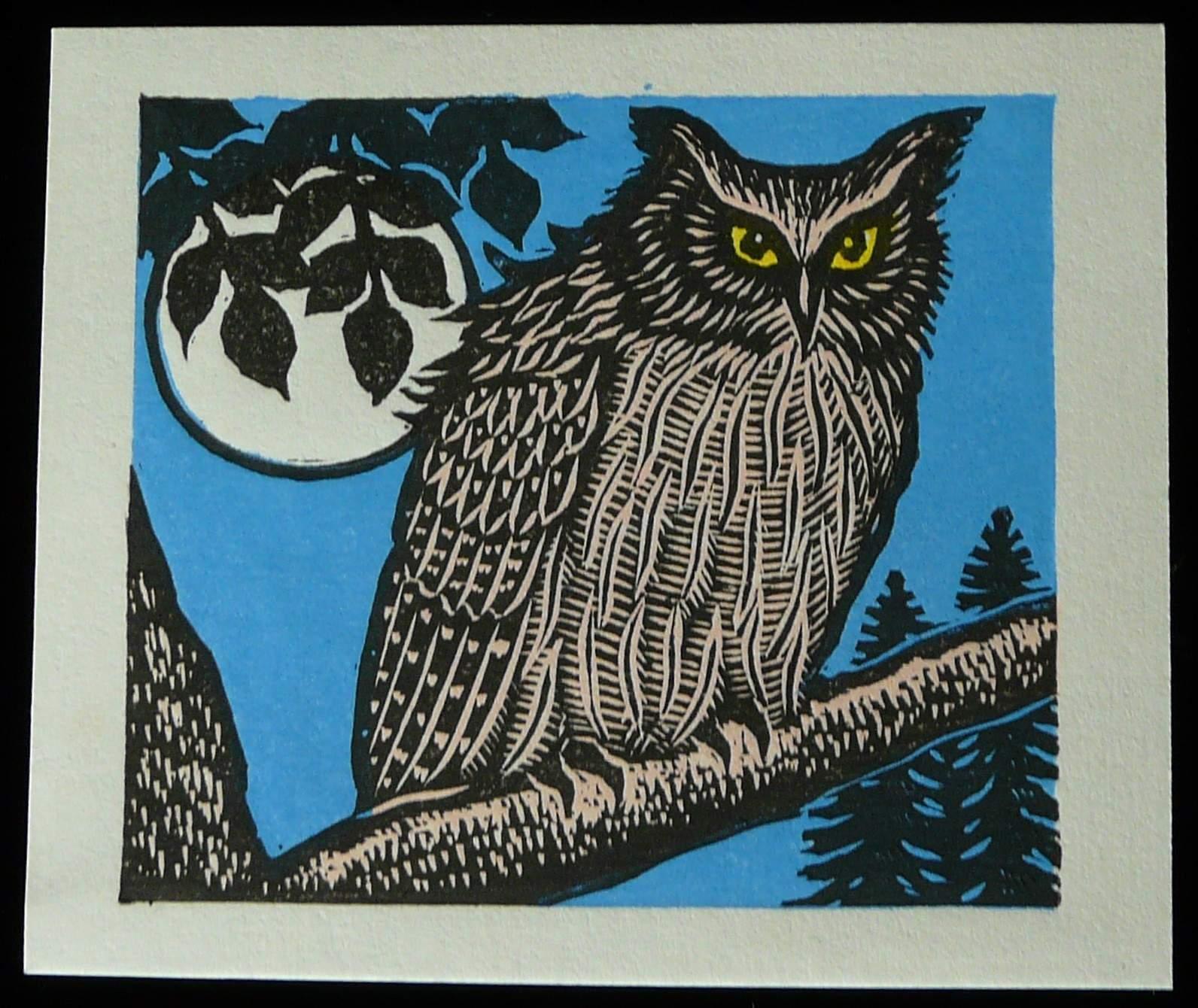 Tejima Keizaburo: #P3302 OWL AND MOON