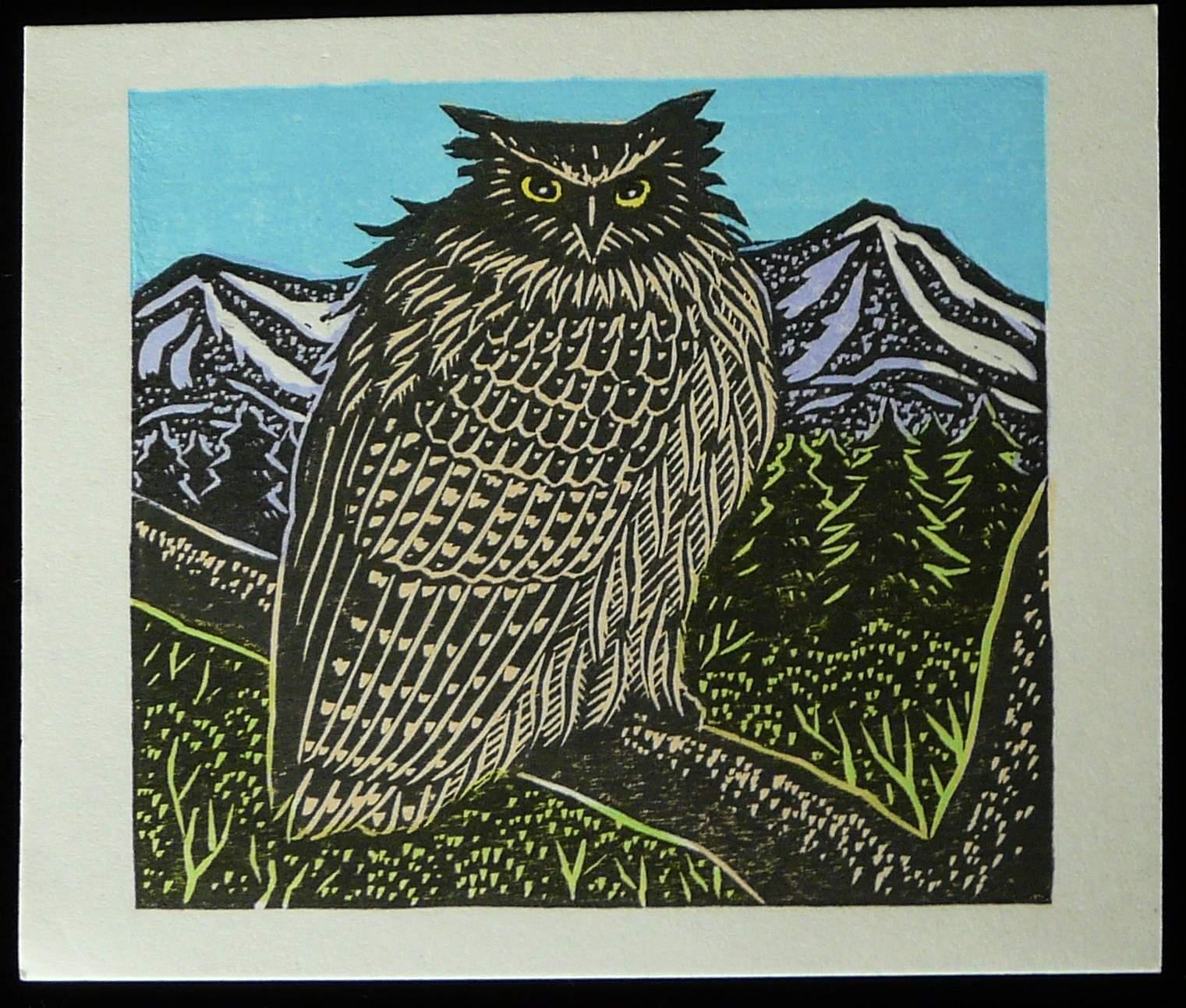 Tejima Keizaburo: #P3303 OWL AND MOUNTAINS